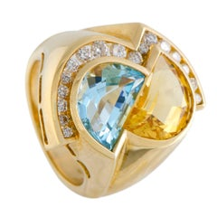 Cittrine Topaz and Diamond Gold Cocktail Ring