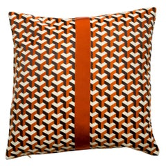 "City Cushion Pillow ""Barcelona"" in Beige Brown Orange Geometric Print"