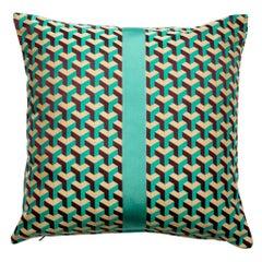 "City Cushion Pillow ""Copenhagen"" in Beige Green Aqua Geometric Print"