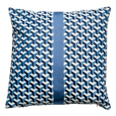 "City Cushion Pillow ""London"" Blue and White Geometric Pattern"