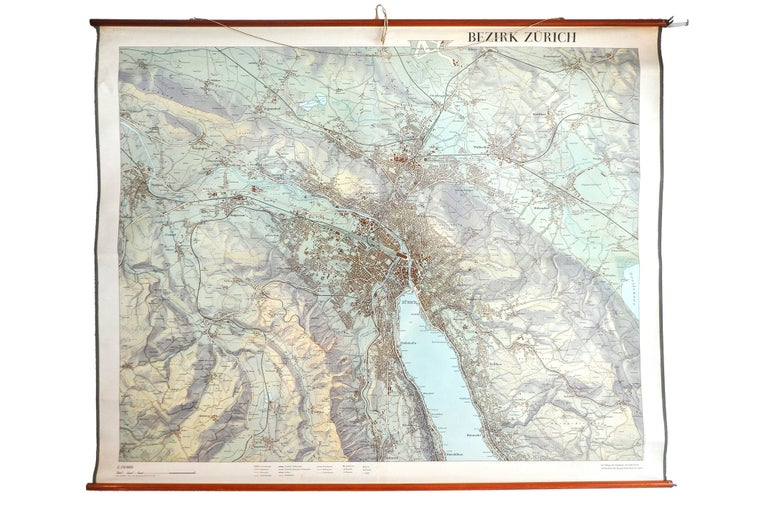 Industrial City of Zurich, Decorative Wall-Mounted Map of the City, 1950s For Sale