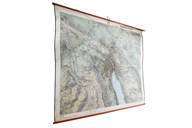 City of Zurich, Decorative Wall-Mounted Map of the City, 1950s In Good Condition For Sale In Zürich, CH