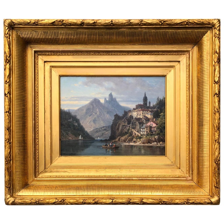 """City on an Alpine Lake"" by Charles Euphrasie Kuwasseg Jr., 1876 For Sale"