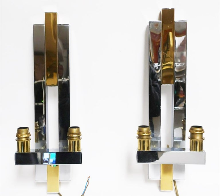 Mid-Century Modern City Scape Wall Sconces For Sale