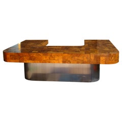 """Cityscape"" Executive Desk in Burled Walnut and Steel by Paul Evans USA"