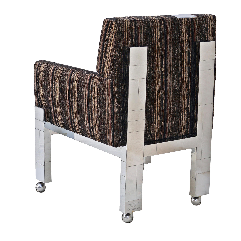 Cityscape Fabric Desk Arm Side Chair with Castors by Paul Evans Inc