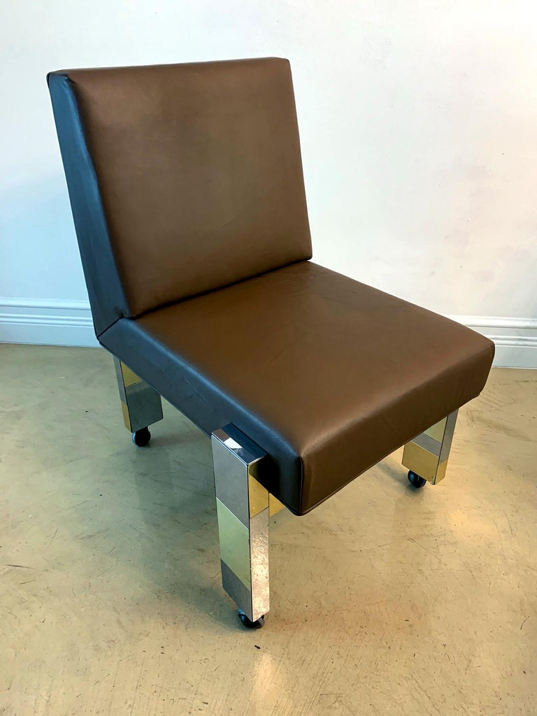 Cityscape Leather Desk Chair with Castors by Paul Evans for Directional For Sale 3