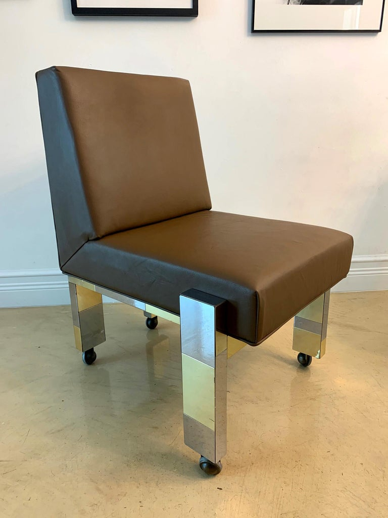 Mid-Century Modern Cityscape Leather Desk Chair with Castors by Paul Evans for Directional For Sale