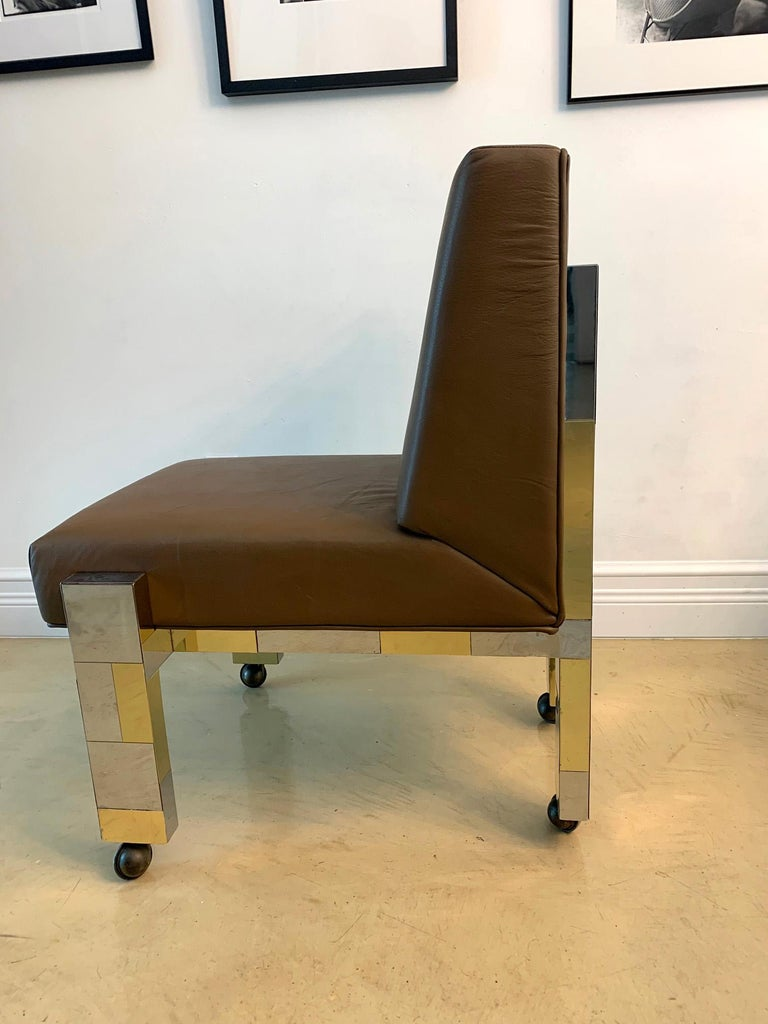 Cityscape Leather Desk Chair with Castors by Paul Evans for Directional In Good Condition For Sale In North Miami, FL
