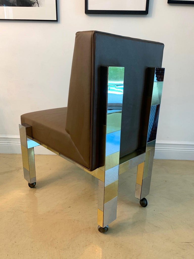 Brass Cityscape Leather Desk Chair with Castors by Paul Evans for Directional For Sale