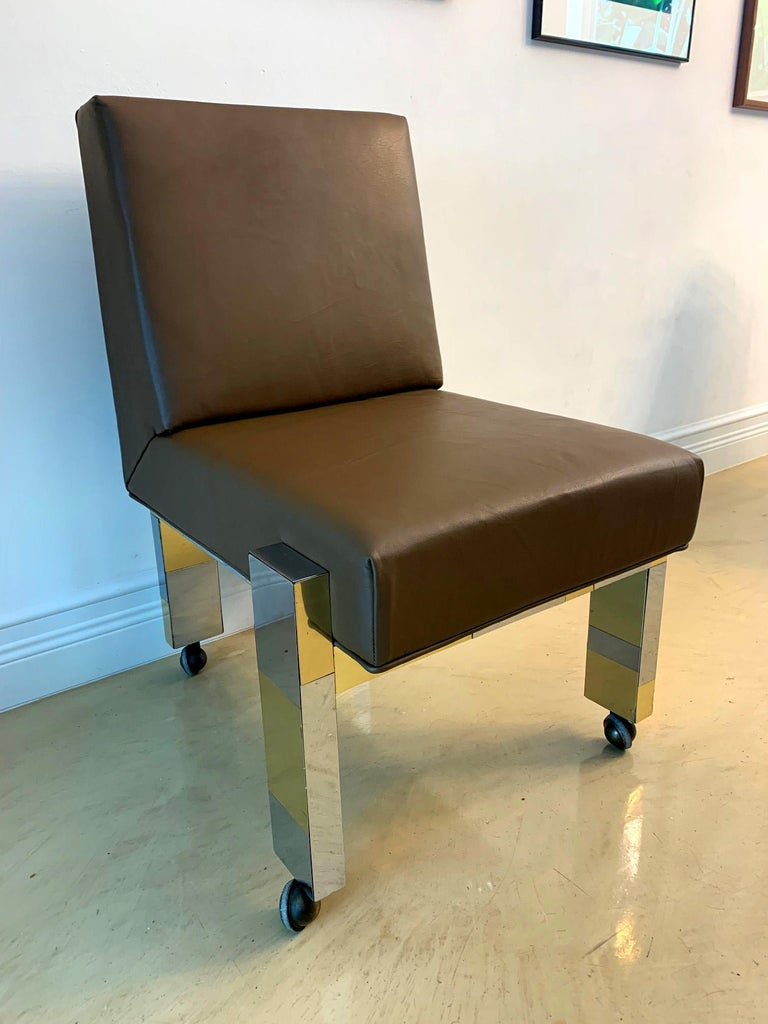 Cityscape Leather Desk Chair with Castors by Paul Evans for Directional For Sale 1