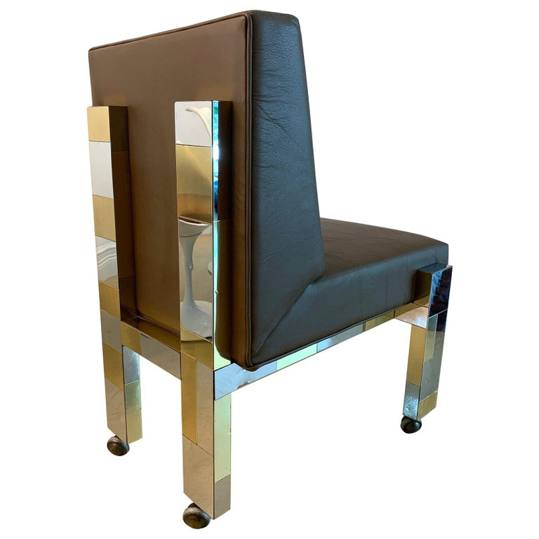 Cityscape Leather Desk Chair with Castors by Paul Evans for Directional For Sale