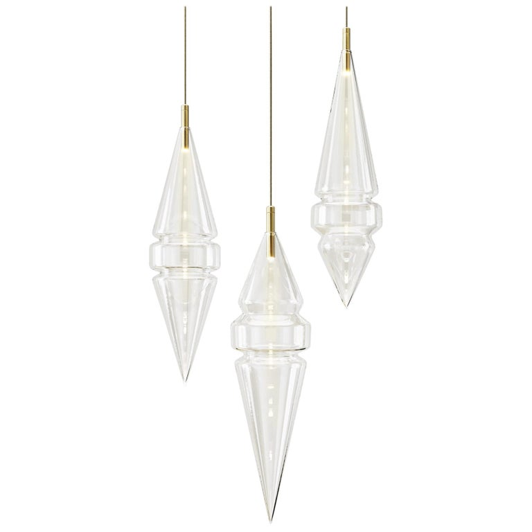 Cityscape Trio pendants in clear hand-blown glass and brass