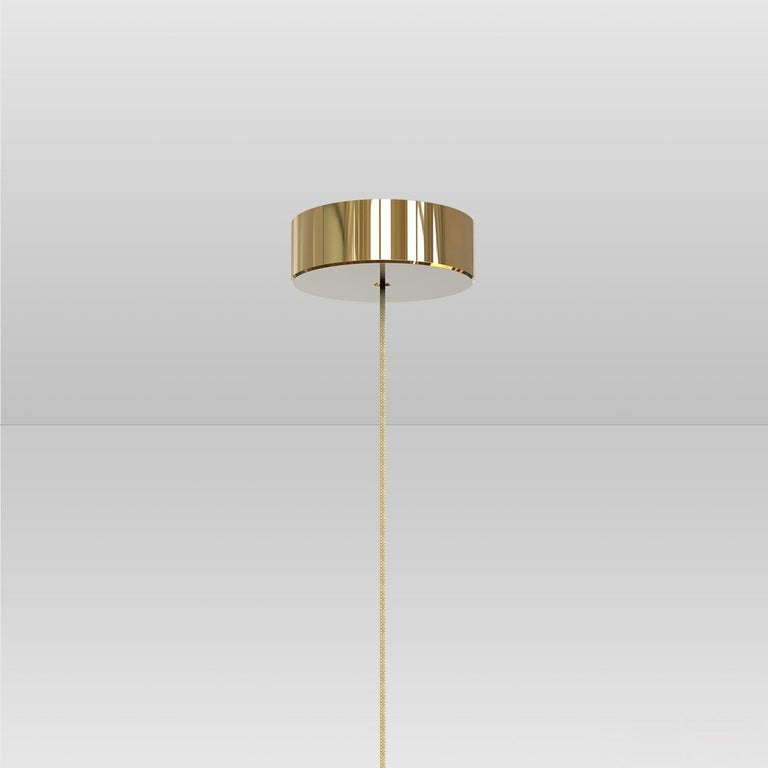 Cityscape Trio Contemporary Blown Glass and Brass Ceiling Lights For Sale 1