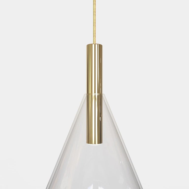 Cityscape Trio Contemporary Blown Glass and Brass Ceiling Lights For Sale 2