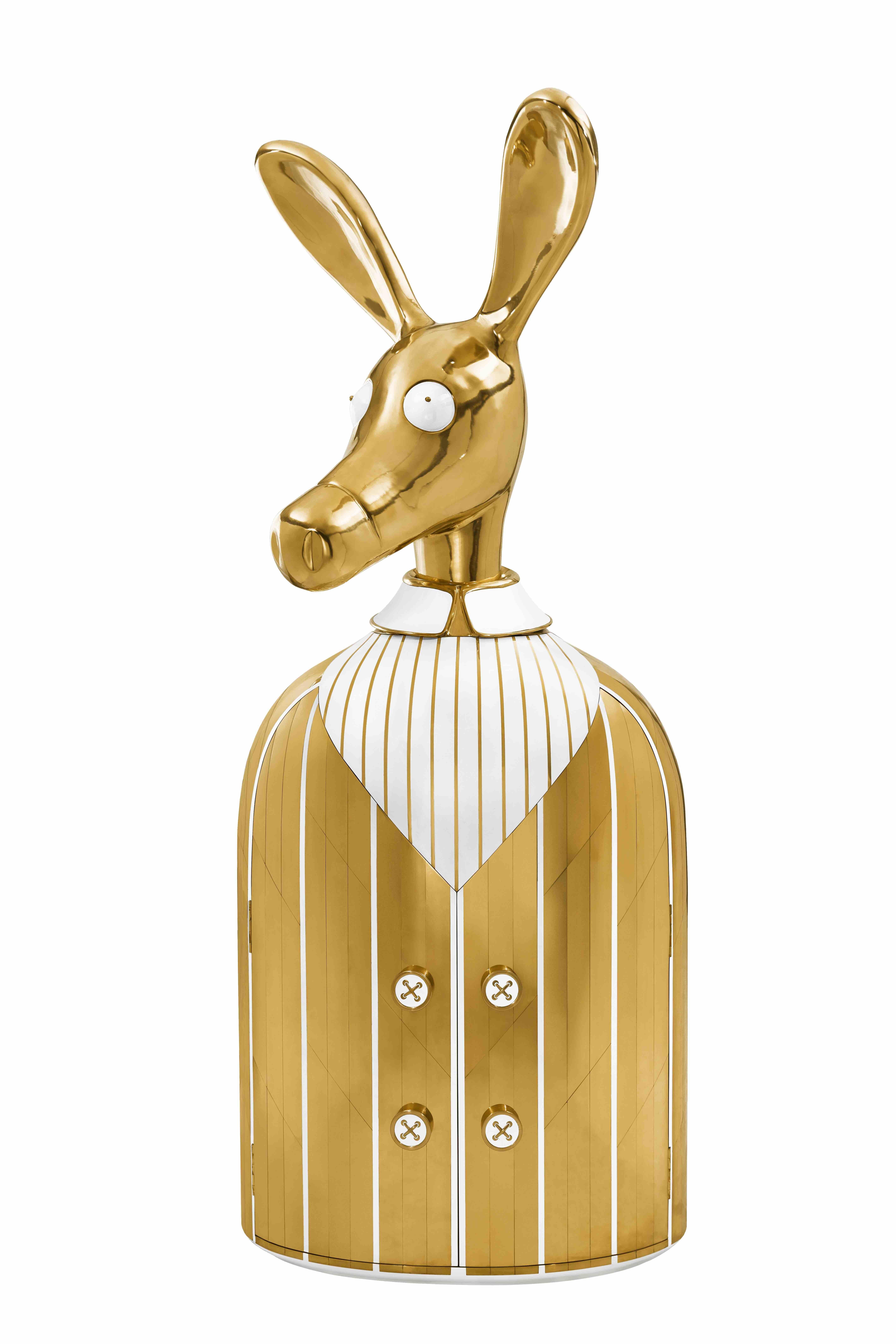 Ciuco Donkey Bar Storage Cabinet with Brass Inlay by Matteo Cibic