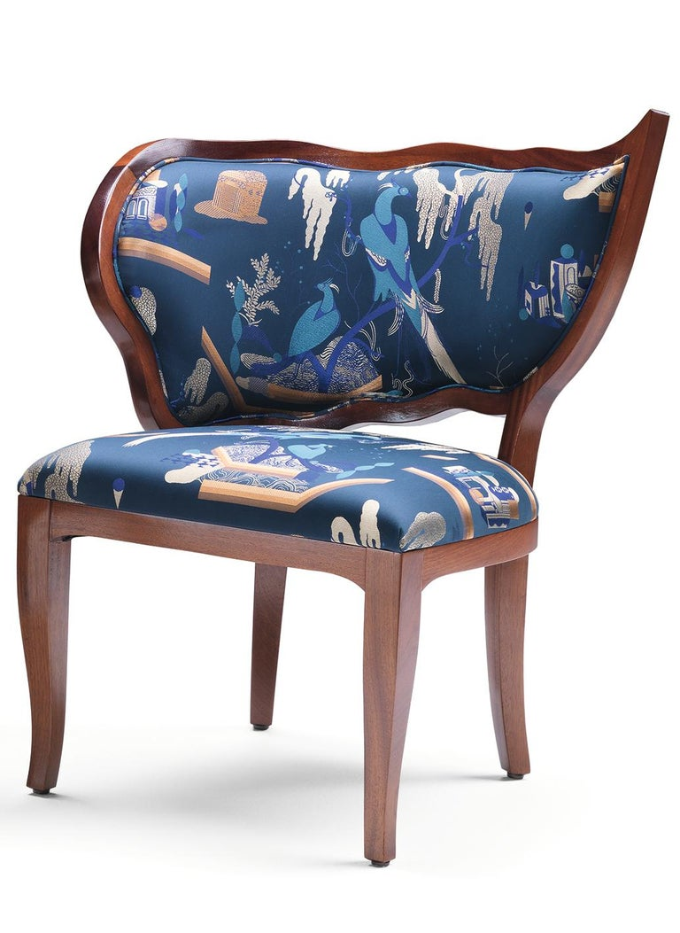 Italian Ciuffo Set of Two Dining Chairs in Solid Mahogany Wood and Jacquard Fabric For Sale