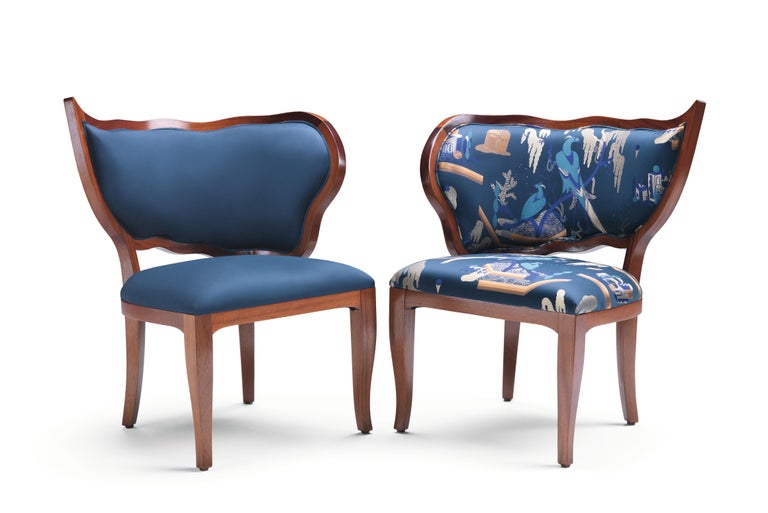 Ciuffo Set of Two Dining Chairs in Solid Mahogany Wood and Jacquard Fabric In New Condition For Sale In Lentate sul Seveso, Monza e Brianza