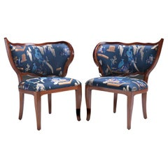Ciuffo Set of Two Dining Chairs in Solid Mahogany Wood and Jacquard Fabric