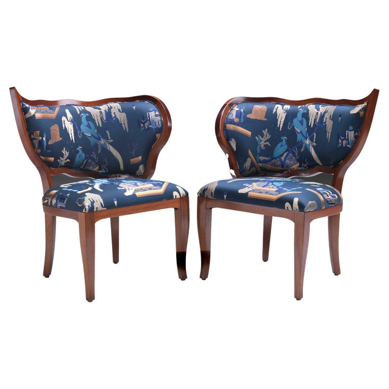 Ciuffo Set of Two Dining Chairs in Solid Mahogany Wood and Jacquard Fabric For Sale