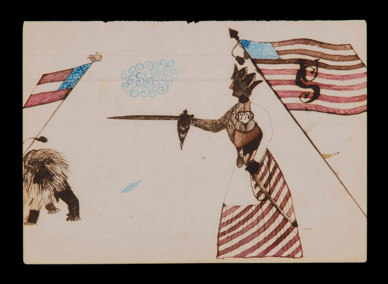 Civil War period watercolor depicting lady liberty directing her sword at the confederacy in the form of the British lion, circa 1861-1865.