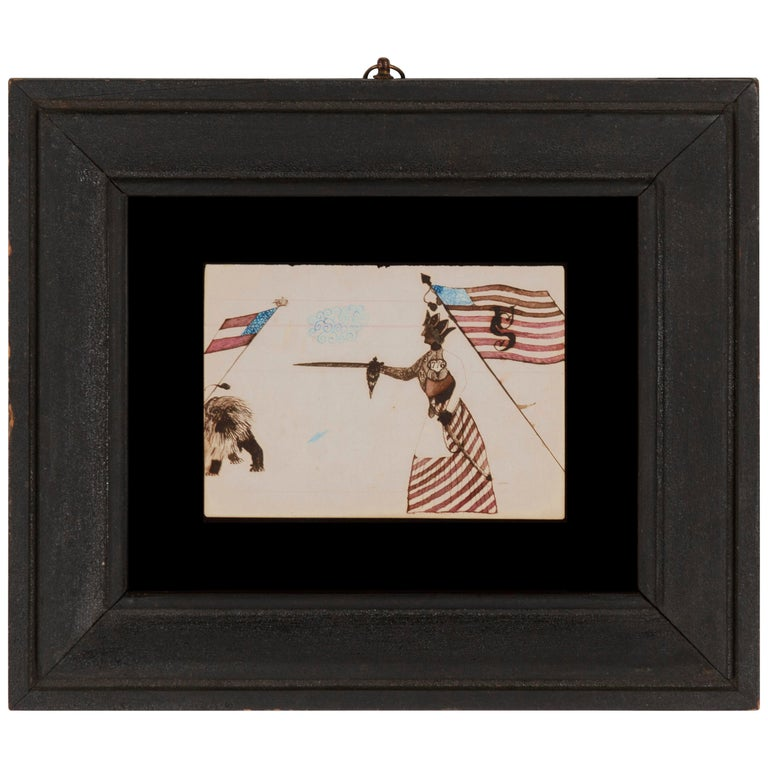 Civil War Period Watercolor Depicting Lady Liberty Directing her Sword For Sale