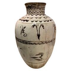 Cizhou Decorated Stoneware Wine Vessel