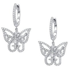 CJ Charles 18 Karat White Gold Butterfly Pave Diamond Earrings
