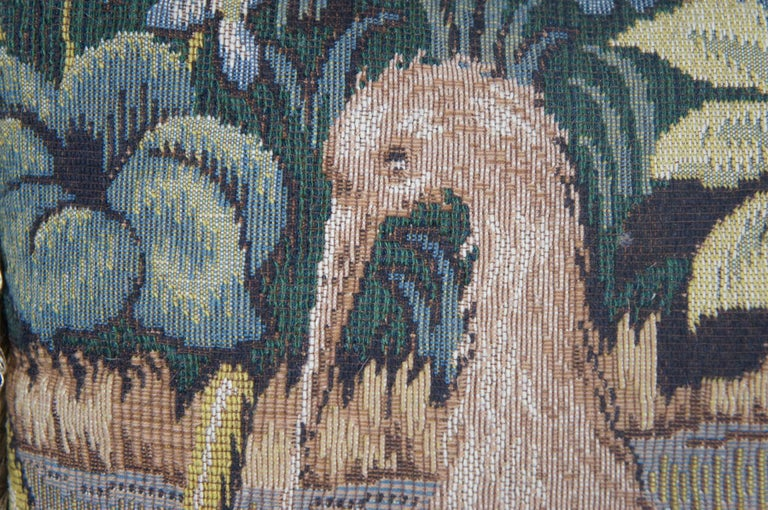 CJC Medieval Tapestry Needlepoint Tapestry Down Fill Throw Pillow Heron, France 5