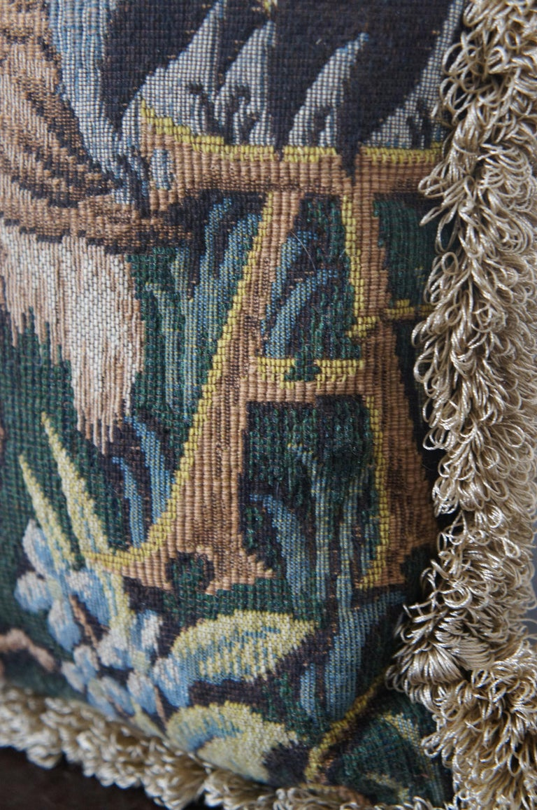 CJC Medieval Tapestry Needlepoint Tapestry Down Fill Throw Pillow Heron, France 6