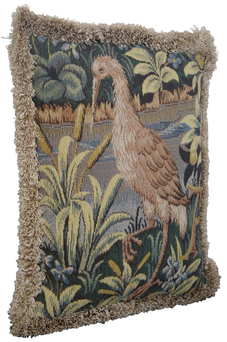 CJC Medieval Tapestry Needlepoint Tapestry Down Fill Throw Pillow Heron, France In Good Condition In Dayton, OH