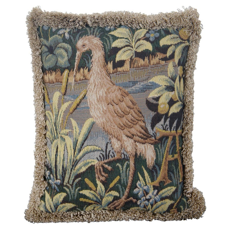 CJC Medieval Tapestry Needlepoint Tapestry Down Fill Throw Pillow Heron, France