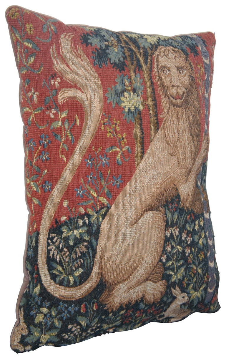 CJC Medieval Tapestry Needlepoint Tapestry Down Fill Throw Pillow Lion France In Good Condition For Sale In Dayton, OH