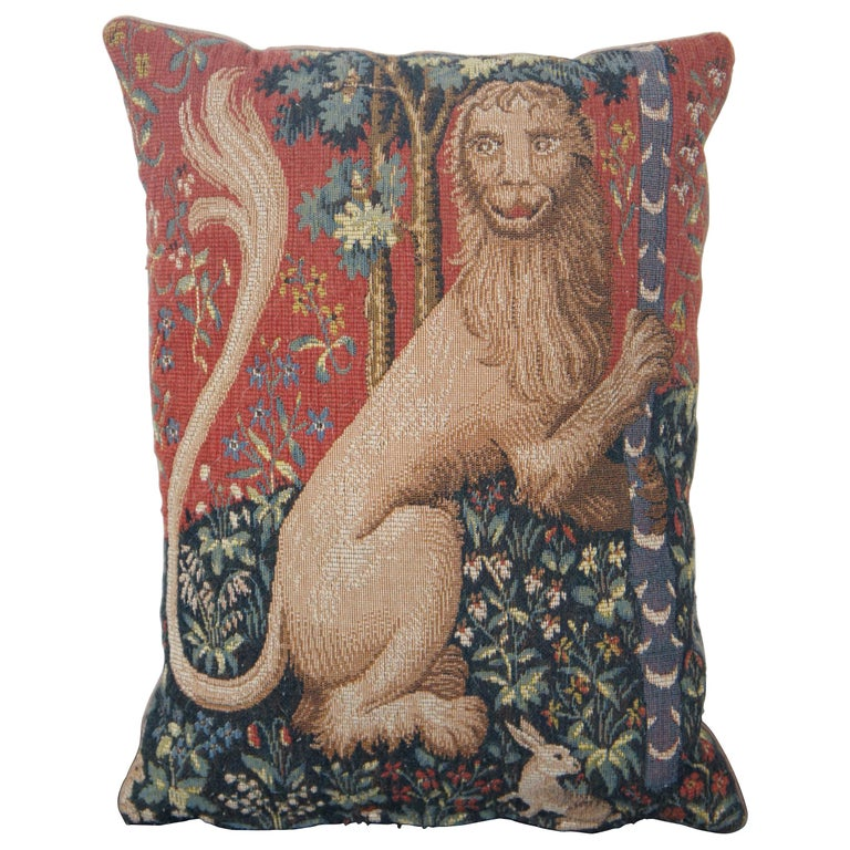 CJC Medieval Tapestry Needlepoint Tapestry Down Fill Throw Pillow Lion France For Sale