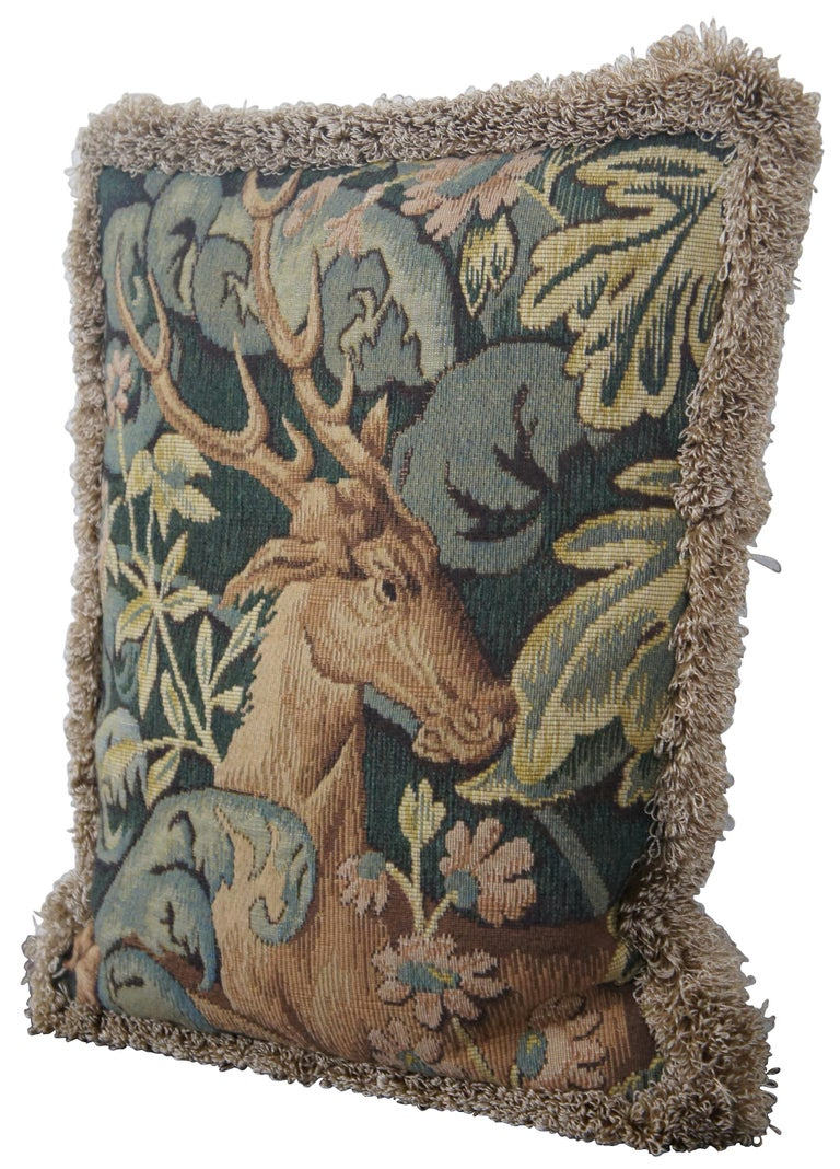 Medieval style, down filled, embroidered throw pillow with velour back and gold fringe, featuring a stag lying in a thicket of leaves, made in France for CJC of St Simons Island, GA.