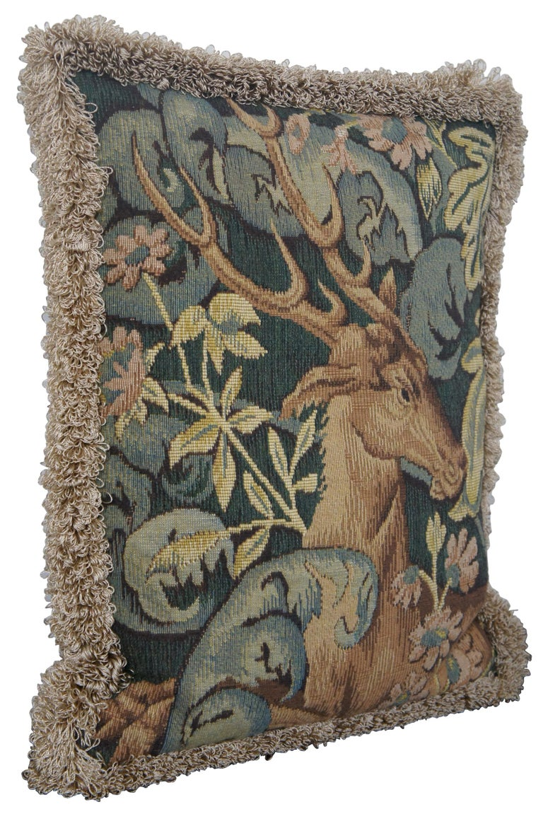 CJC Medieval Tapestry Needlepoint Tapestry Down Fill Throw Pillow Stag, France In Good Condition In Dayton, OH