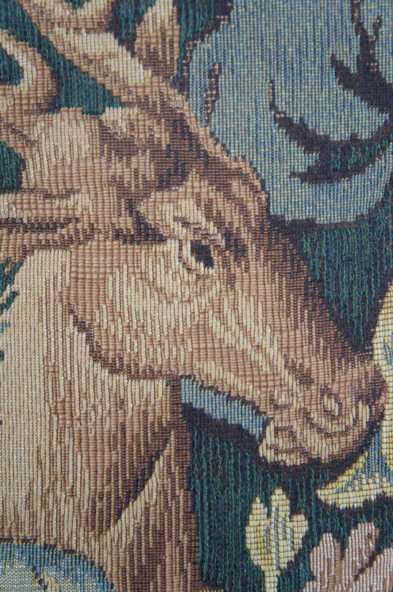 CJC Medieval Tapestry Needlepoint Tapestry Down Fill Throw Pillow Stag, France 4