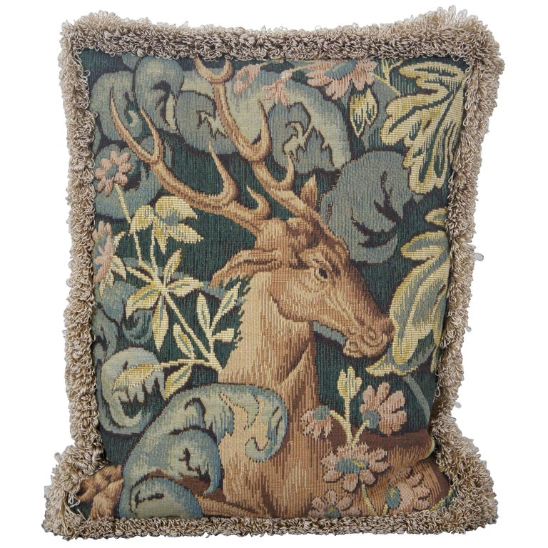 CJC Medieval Tapestry Needlepoint Tapestry Down Fill Throw Pillow Stag, France