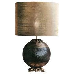 CL1735 Black and Gold Silk Majolica Lamp