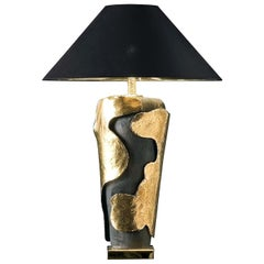 CL1845 Hand Carved Majolica and Gold-Plated Brass Lamp