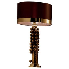 CL1852 Gold-Plated and Brown Silk Lamp
