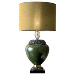 CL1880 Green Gold and Crystal Table Lamp