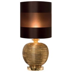 CL1885 Gold-Plated and Brown Taffeta Jar Lamp