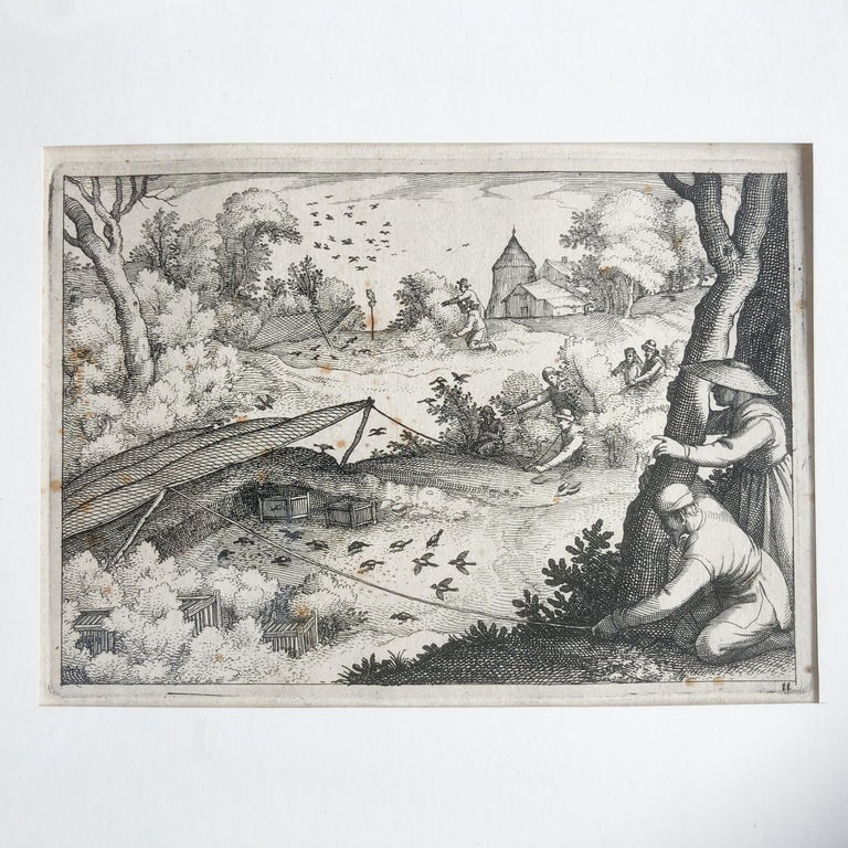 Baroque Claes Jansz. Visscher II 'Catching Pigeons', Copper Engraving, 1609 For Sale