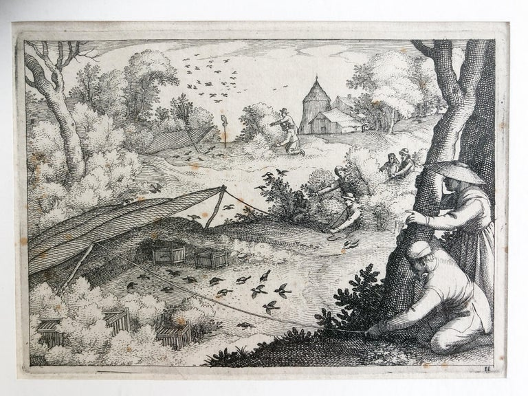 Belgian Claes Jansz. Visscher II 'Catching Pigeons', Copper Engraving, 1609 For Sale