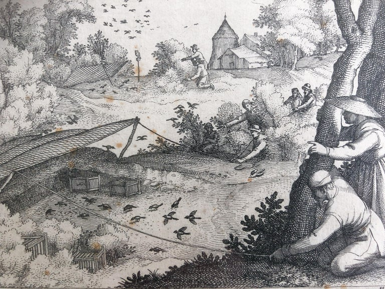 Engraved Claes Jansz. Visscher II 'Catching Pigeons', Copper Engraving, 1609 For Sale