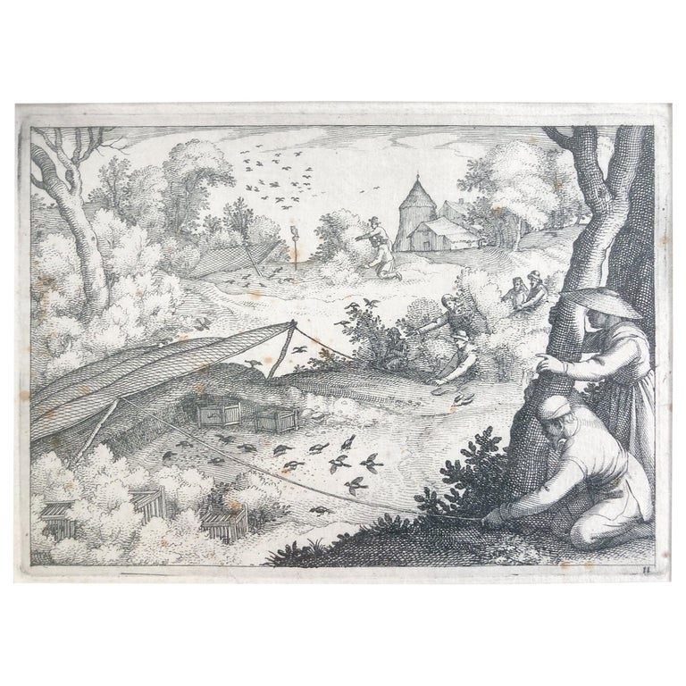 Claes Jansz. Visscher II 'Catching Pigeons', Copper Engraving, 1609 For Sale