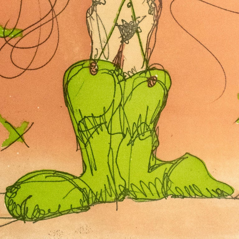 This playful, erotic print by Claes Oldenburg features a nude woman in outsized lime green cowboy boots standing with hands on hips. Wild lines radiating from the crown of her head are accented with bright green to form a wide hat, against a peach