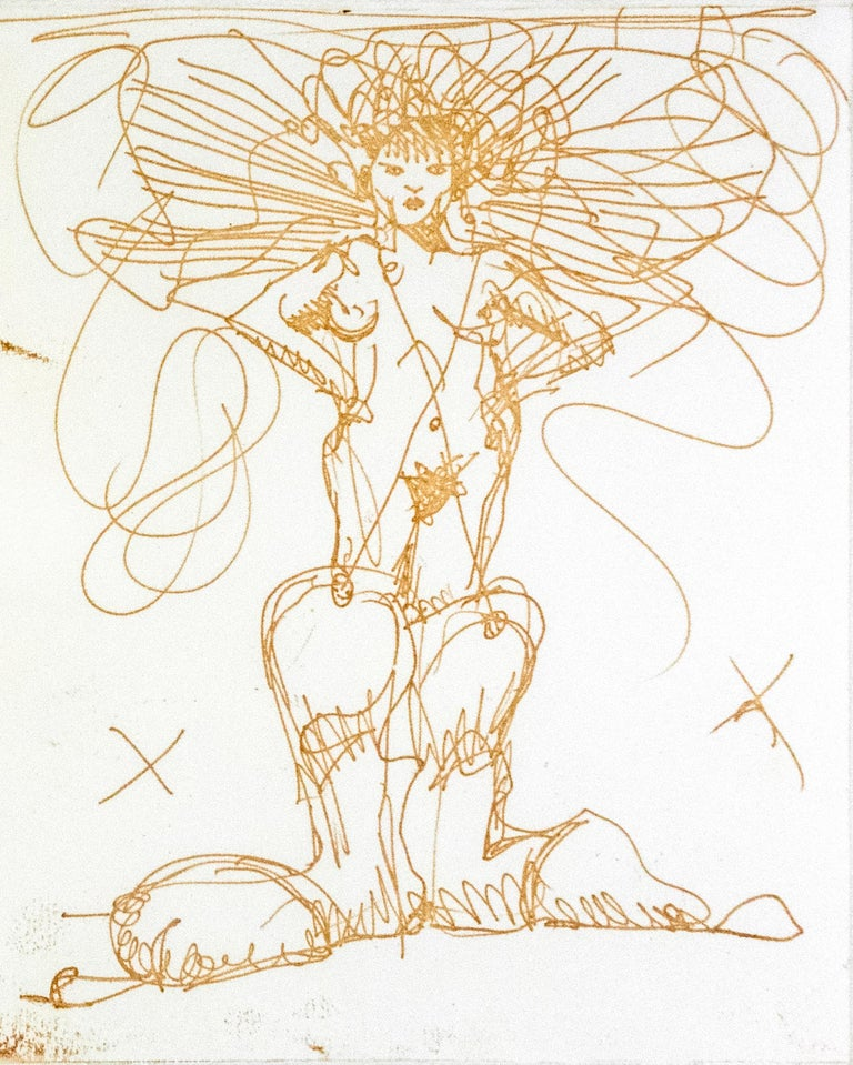 Boot Fairy (First state color 3) Oldenburg etching of nude woman in cowboy boots - Print by Claes Oldenburg