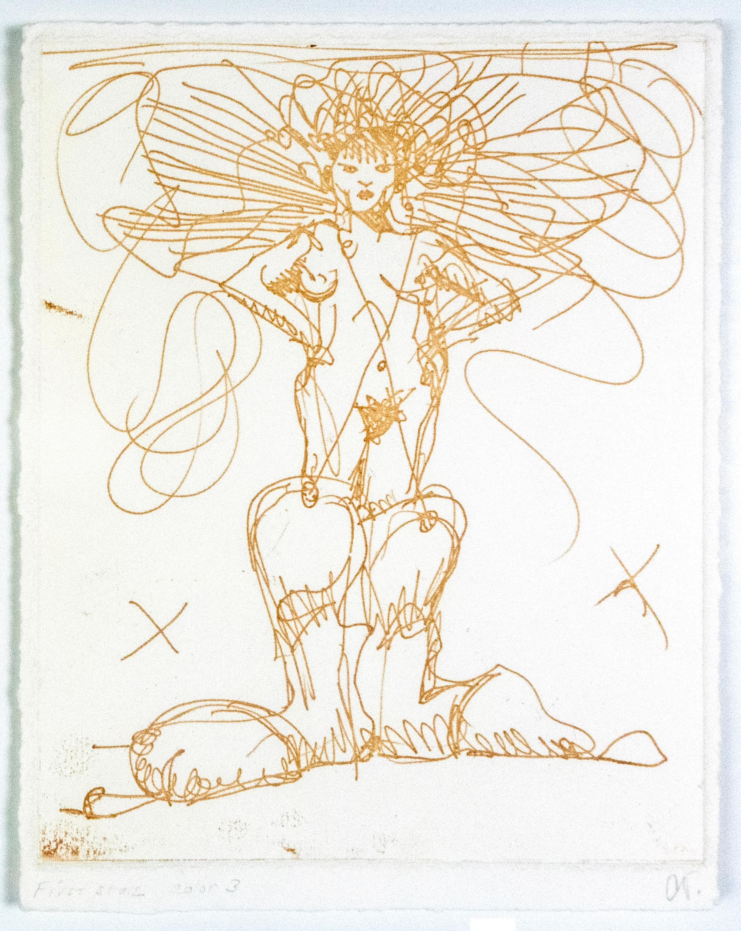 Boot Fairy (First state color 3) Oldenburg etching of nude woman in cowboy boots